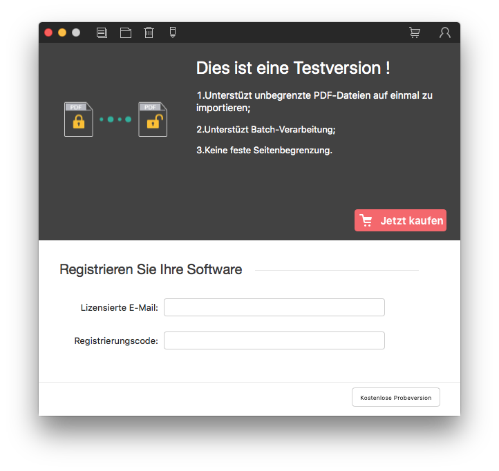 PDF Password Remover für Mac registrieren