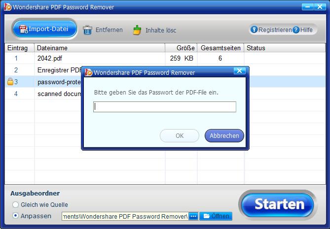 öffnendes passwort eingeben