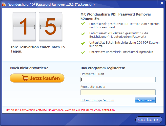 pdf password remover registrieren