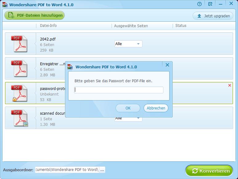 öffnen passwort eingeben