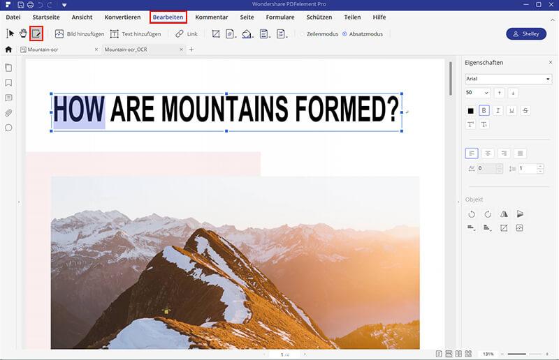 gescannte pdf datei bearbeiren