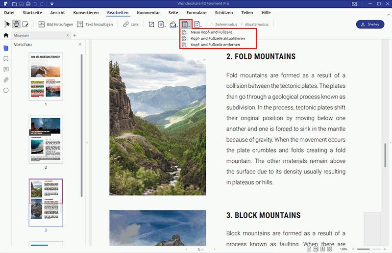Kopfzeile zu PDF hinzufügen