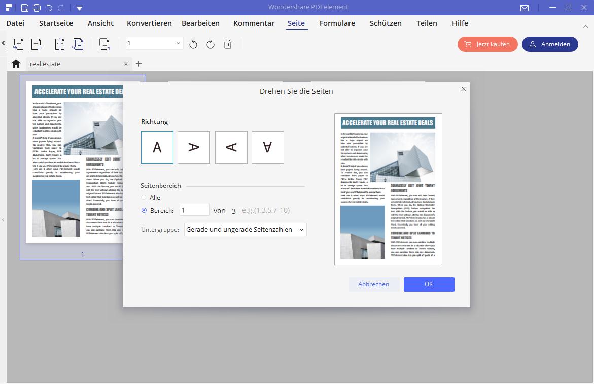 PDF Ausrichtung ändern