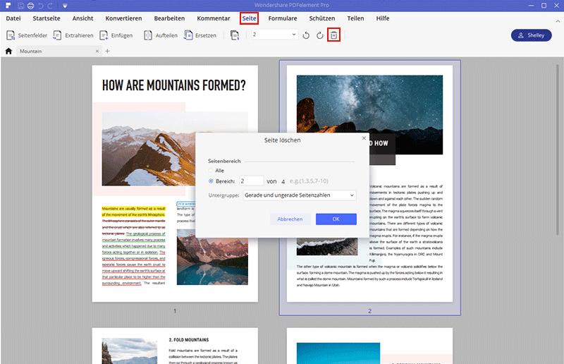 Seiten aus PDF löschen