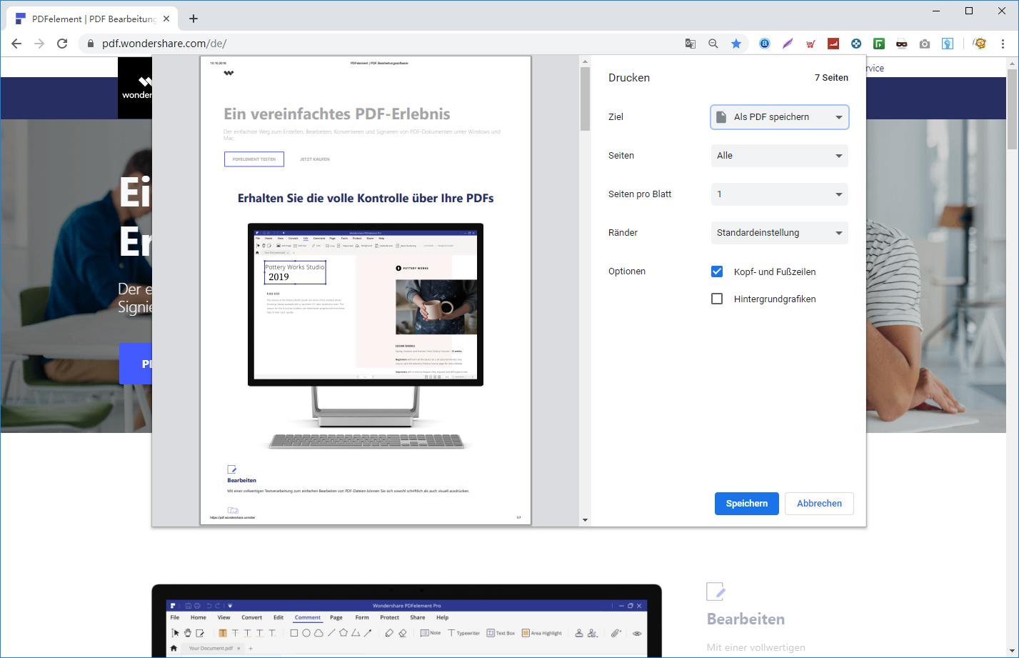 Webseite als PDF speichern