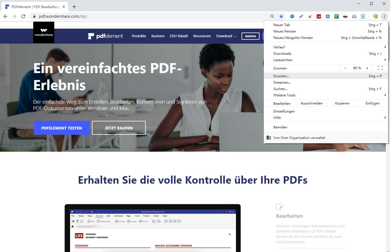 Webseite in Chrome als PDF speichern