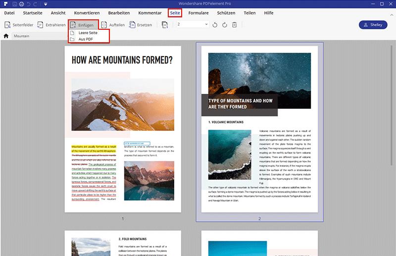 Seite in PDF hinzufügen