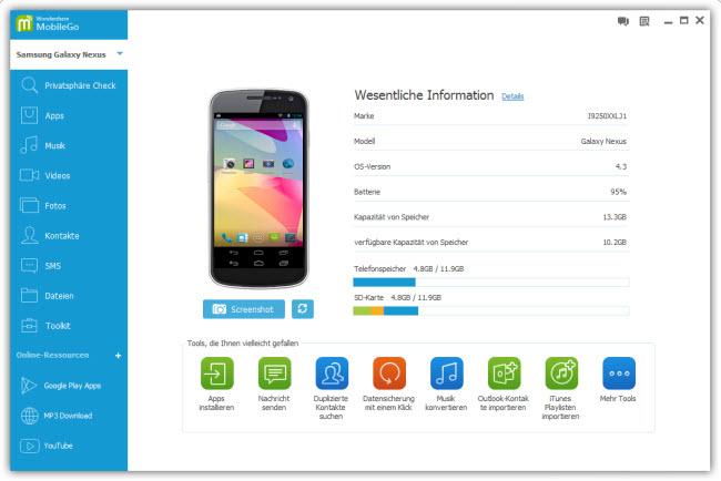 Wondershare MobileGo für Android