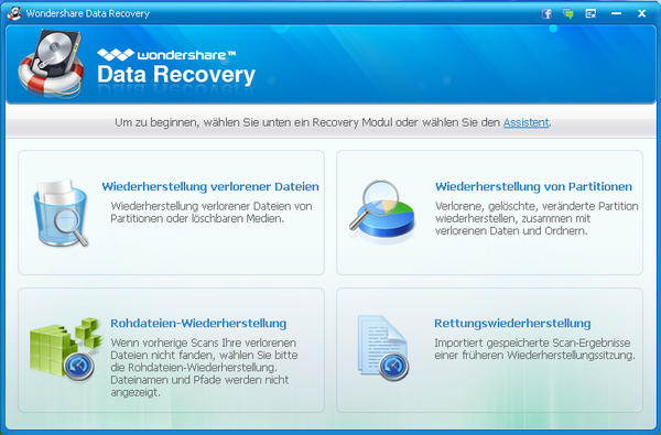 Hauptfenster von Wondershare data recovery
