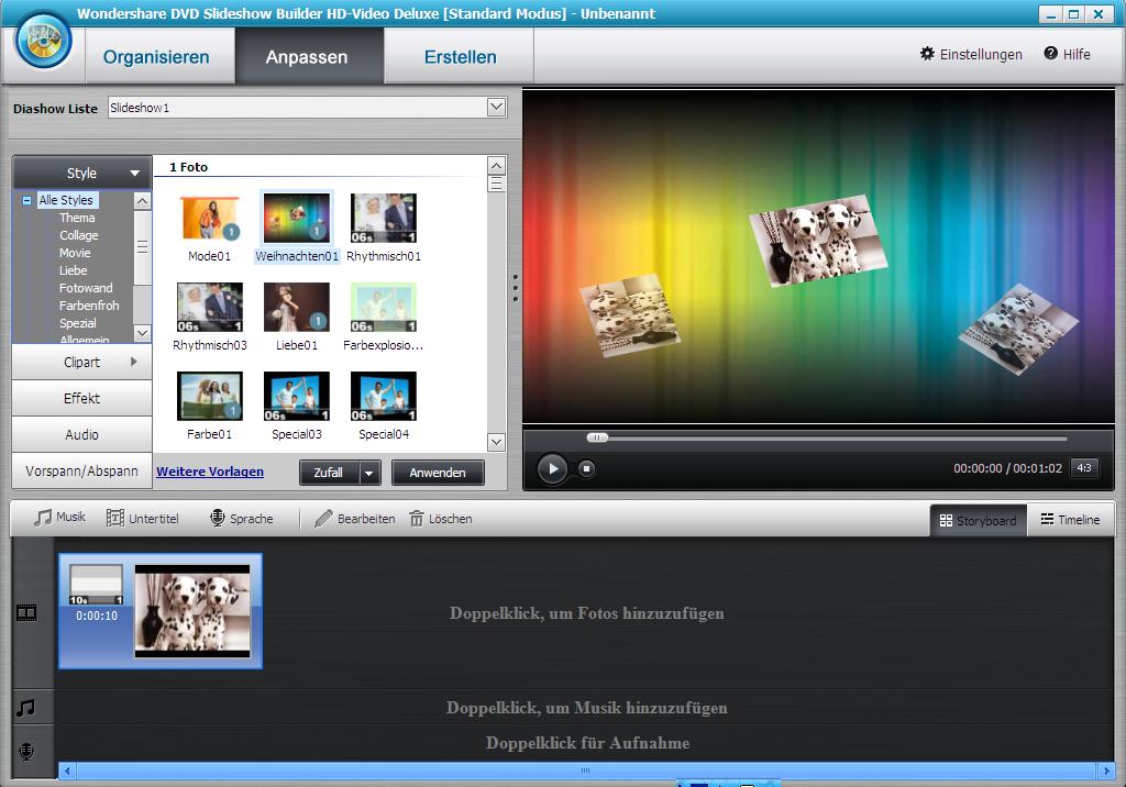 JPG zu AVI umwandeln - Wondershare Slideshow Builder
