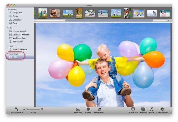 iphoto slideshow erstellen