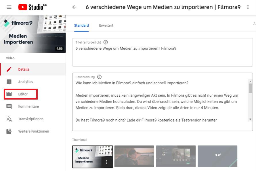 youtube creator studio zuschneiden funktion