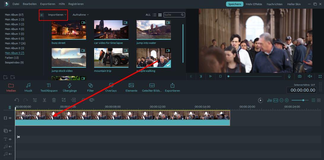 filmora medien importieren