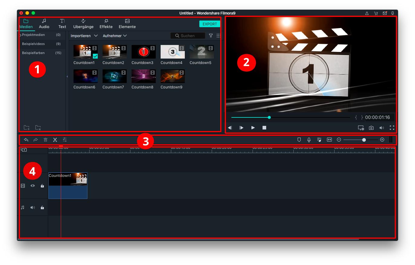 filmora mac benutzeroberfläche
