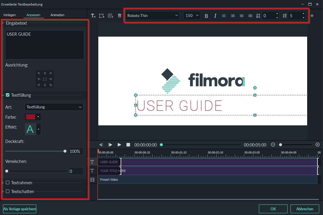 Filmora Windows Textformatierung