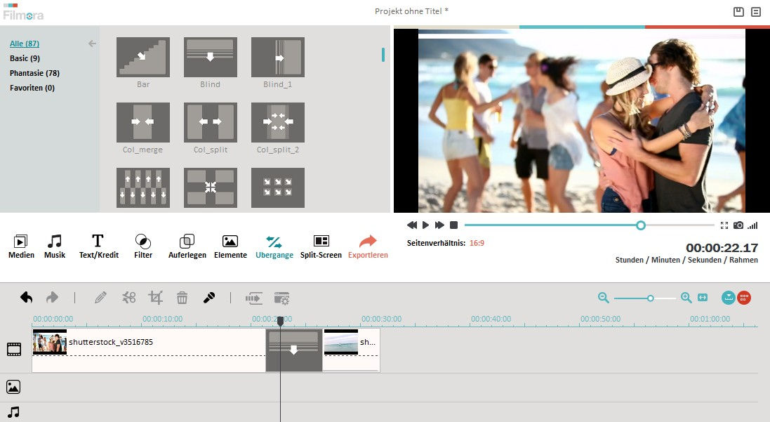 how to add transition effect between two video clips