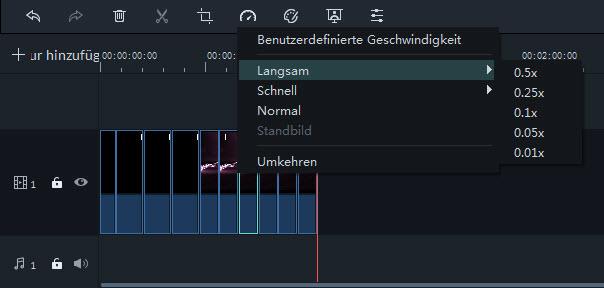 Filmora Windows Abspielgeschwindigkeit anpassen Voreinstellungen