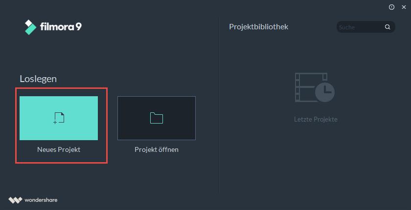 filmora windows neues projekt erstellen