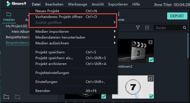 filmora windows vorhandenes projekt öffnen