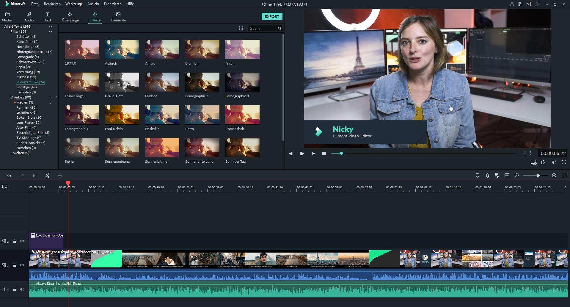 wondershare filmora kostenloses videobearbeitungsprogramm