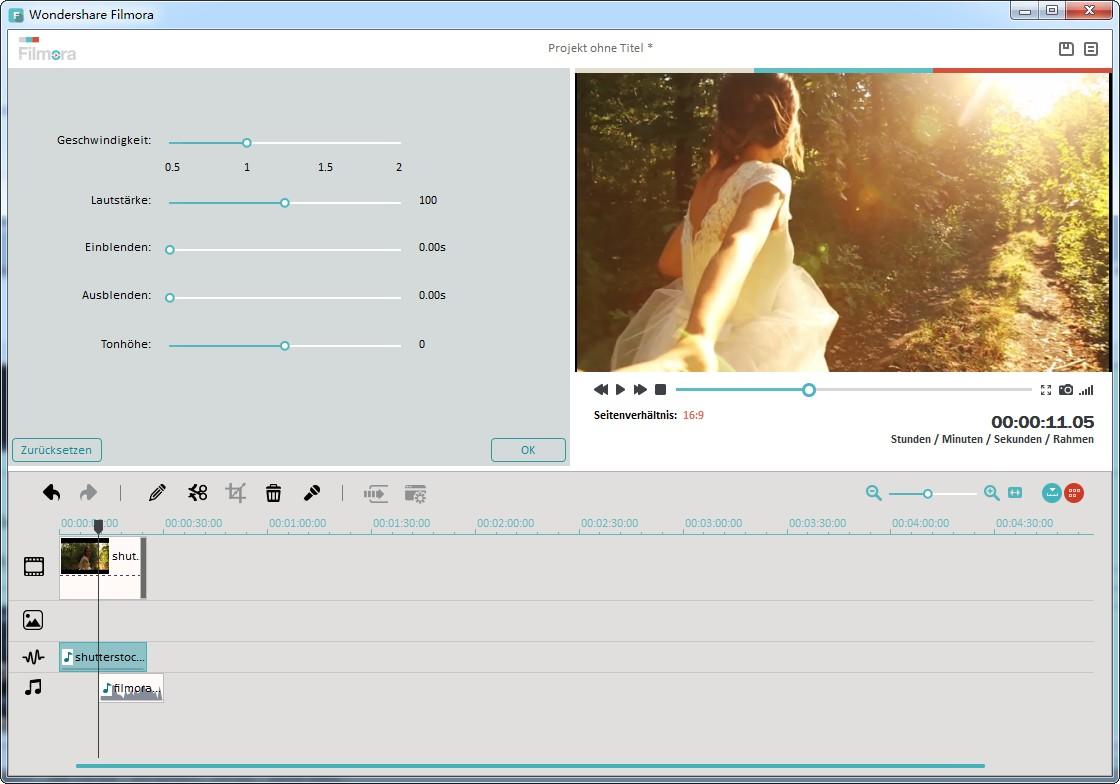 Anwenden von Audioeffekten um die Audio aus Video zu bearbeiten