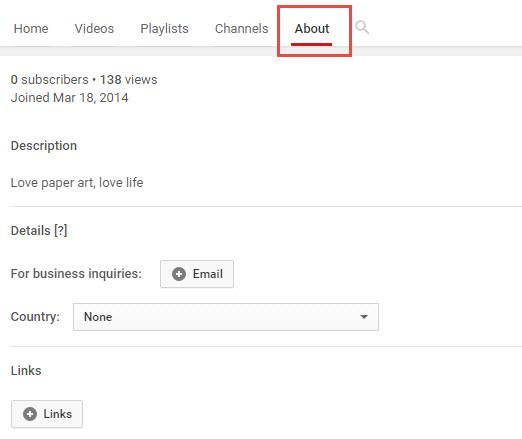 Edit YouTube Channel Description - About
