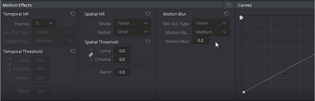 noise reduction and motion blur effects