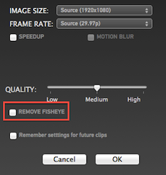 Remove fisheye lens