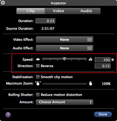 Verlangsamen oder Beschleunigen Sie iMovie Videoclips