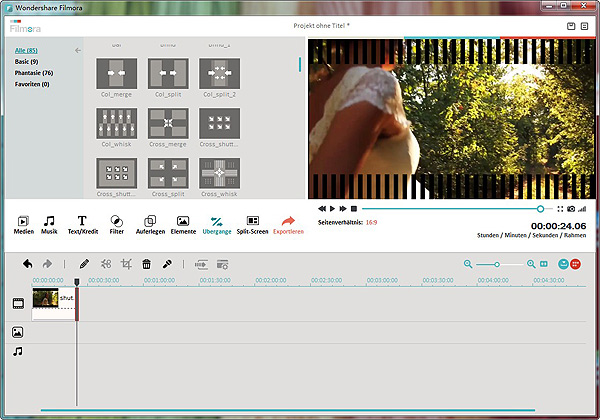 Fügen Sie Übergang in Videobearbeitungssoftware