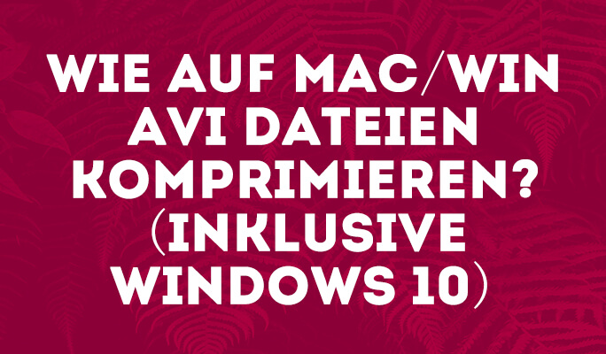 Wie auf Mac/Win AVI Dateien komprimieren? (inklusive Windows 10)