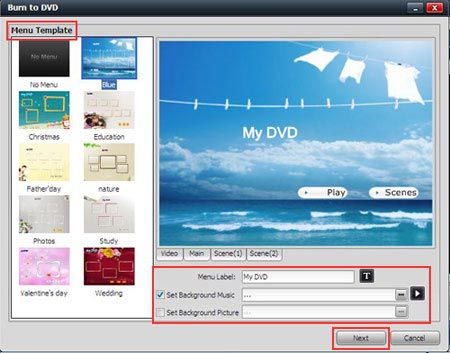 ISO to DVD with menu