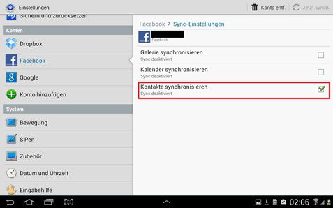 Facebook-Kontakte mit Android sync
