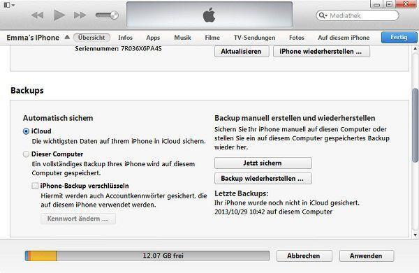 Backup Ihres iPhones mit iTunes