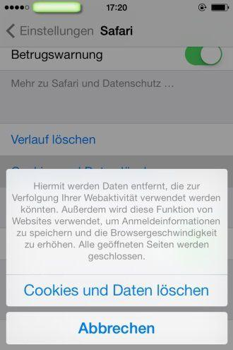 delete cookies on iPhone