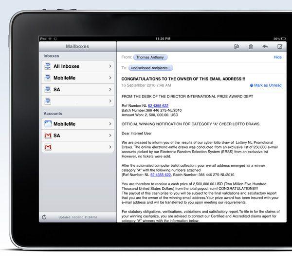 iPad Email wiedehrerstellen