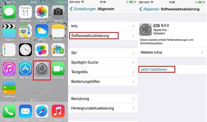 wie kann ich mein iPhone auf ios 8 upgraden
