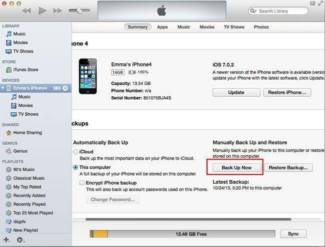 backup iOS 7.1