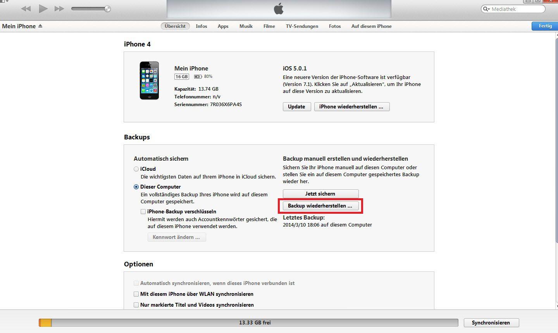 iPhone Backup wiedehrerstellen