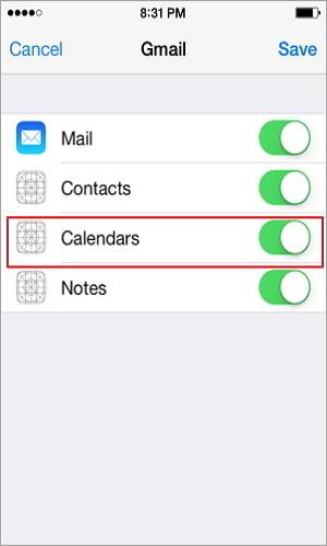 copy calendars from iphone to android