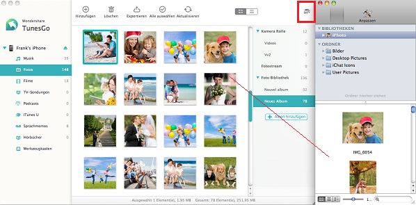 import photos from iphoto to iphone