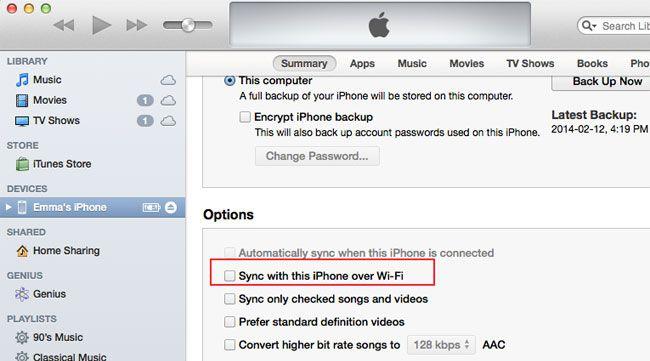 iPhone mit dem Mac synchronisieren über Wifi