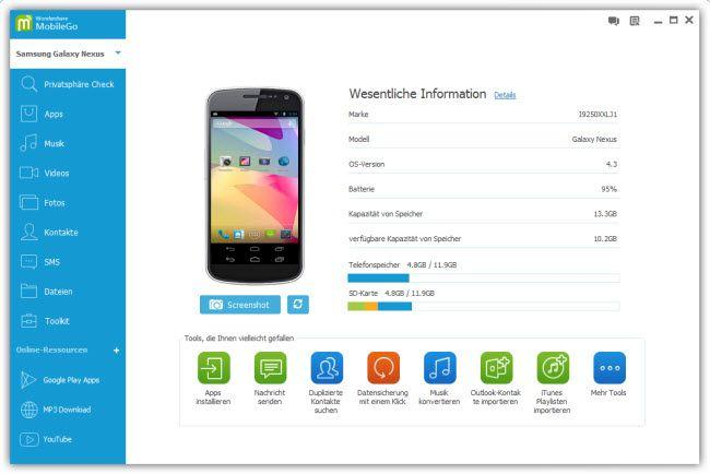 Wondershare MobileGo für Android