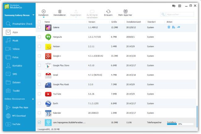Apps auf Android 4.4, KitKat, übertragen