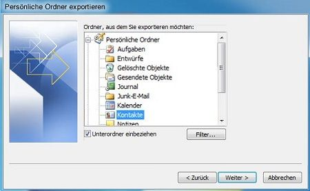 windows live mail kontakte exportieren