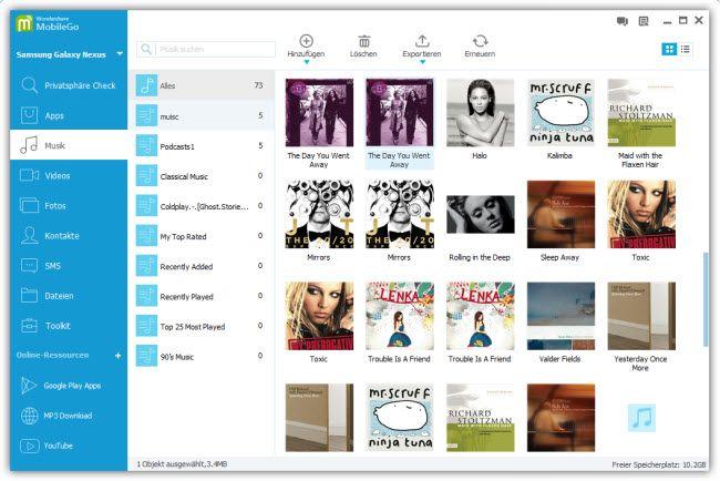 musik vom Computer auf Nexus 7