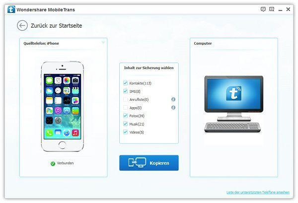 iphone backup mit wondershare mobiletrans erstellen
