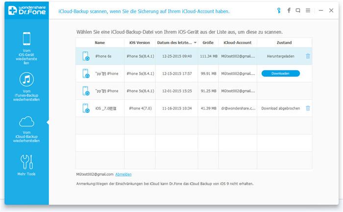 Überprüfen Sie die Inhalte Ihres iTunes-Backup, um nachzusehen, ob die Daten noch vorhanden sind