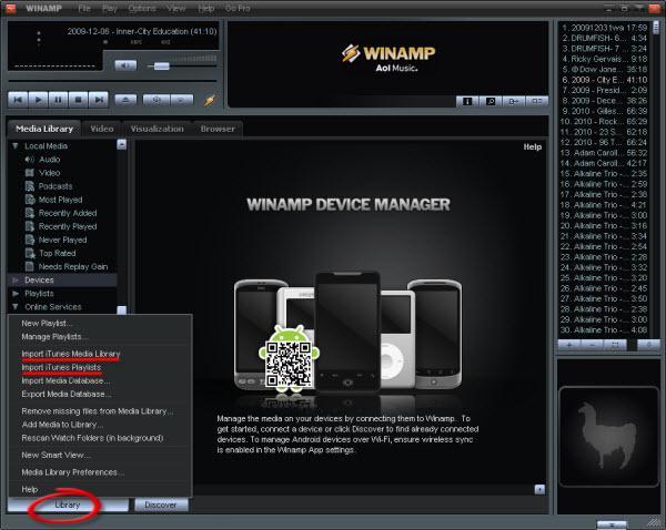 So importieren Sie in Winamp Ihre iTunes-Bibliothek