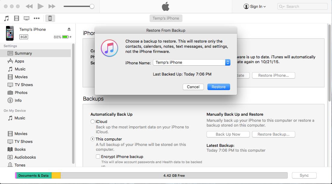 Wie Sie iOS 9 auf dem Mac sichern
